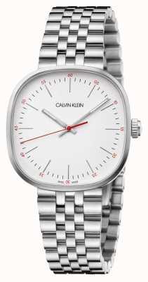 Calvin Klein   bracciale da uomo in acciaio   quadrante quadrato in argento   K9Q12136