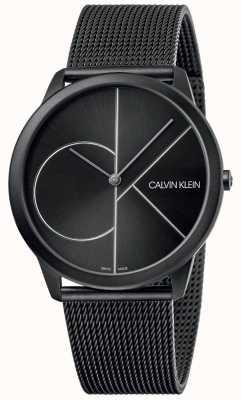 Calvin Klein Minimo | braccialetto a maglie nere | quadrante nero | K3M5T451