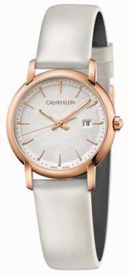 Calvin Klein | donne stabilite | cinturino in pelle bianca | quadrante argento | K9H236L6