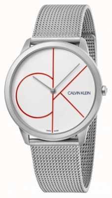 Calvin Klein Minimo | braccialetto in maglia d'argento | quadrante bianco | K3M51152