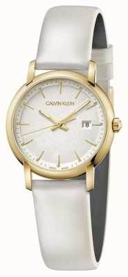 Calvin Klein   cinturino in pelle bianca da donna   quadrante argento   K9H235L6