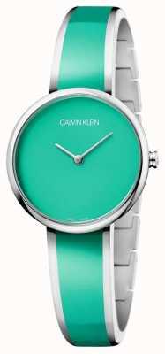 Calvin Klein | donne seducono | bracciale in resina verde acciaio inox | K4E2N11L