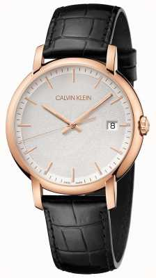 Calvin Klein | uomo minimo | cinturino in pelle nera | quadrante bianco | K9H216C6