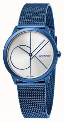 Calvin Klein Minimo | braccialetto a maglie blu | quadrante argento | K3M52T56