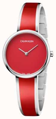 Calvin Klein   donne seducono   bracciale in resina rossa acciaio inox   K4E2N11P
