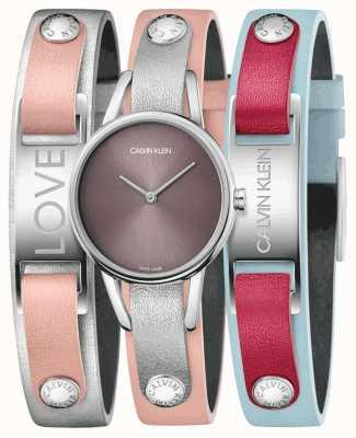 Calvin Klein | i miei calvins | cinturino in pelle rosa | set orologio e bracciale | K9D231ZZ