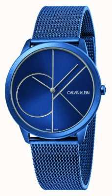 Calvin Klein Minimo | braccialetto a maglie blu | quadrante blu | K3M51T5N