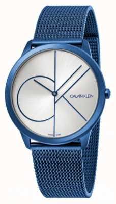 Calvin Klein Minimo | braccialetto a maglie blu | quadrante argento | K3M51T56