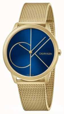 Calvin Klein Minimo | bracciale a maglie d'oro | quadrante blu | K3M5155N