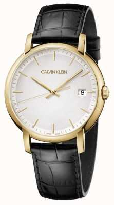 Calvin Klein | uomo minimo | cinturino in pelle nera | quadrante bianco | K9H215C6