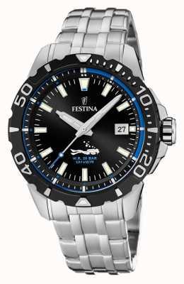 Festina   subacquei mens   bracciale in acciaio inossidabile quadrante nero / blu   F20461/4