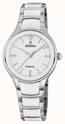 Festina | ceramiche da donna | braccialetto argento / bianco | quadrante bianco | F20474/1