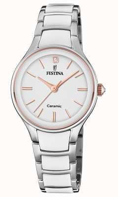 Festina | ceramiche da donna | braccialetto argento / bianco | oro rosa / bianco F20474/2