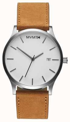 MVMT Abbronzatura bianca classica | cinturino in pelle marrone | quadrante bianco D-L213.1L.331
