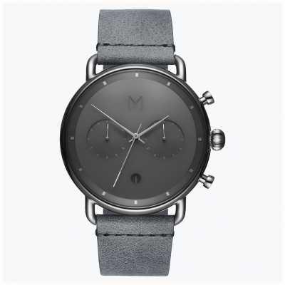 MVMT Nebbia d'argento Blacktop | cinturino in pelle grigia | quadrante grigio D-BT01-SGR