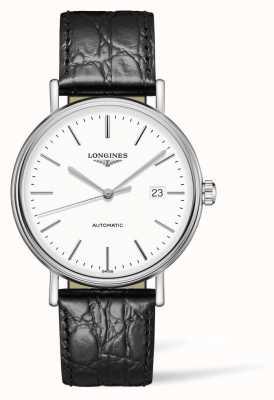 Longines Cinturino in pelle nera Présence les grandes classique L49224122