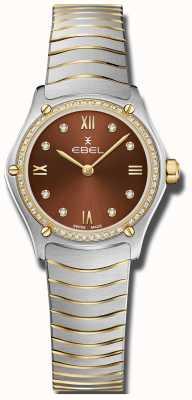 EBEL Classico sportivo da donna | quadrante marrone | set di diamanti | inossidabile 1216443A