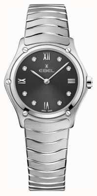 EBEL Classico sportivo da donna | quadrante grigio | set di diamanti | inossidabile 1216416A