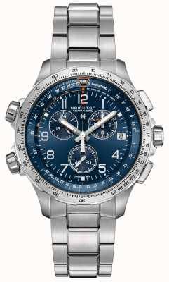 Hamilton | khaki aviation x-wind gmt | quadrante blu | acciaio inossidabile H77922141