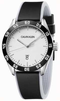 Calvin Klein | uomo | competere | cinturino in caucciù nero | quadrante argentato | K9R31CD6