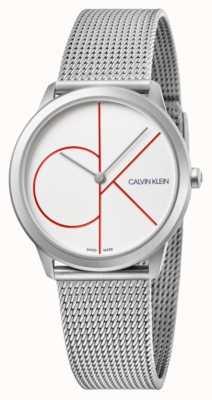Calvin Klein   minimo   bracciale a maglie in acciaio inossidabile quadrante argentato   K3M52152