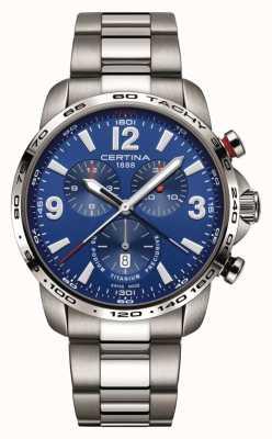 Certina | podio ds | quadrante cronografo blu | braccialetto di titanio | C0016474404700