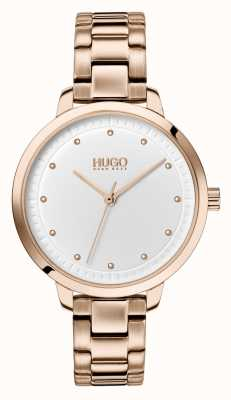 HUGO #achieve | braccialetto ip oro rosa | quadrante bianco 1540037