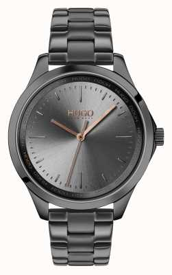 HUGO #fearless | braccialetto grigio ip | quadrante grigio 1540042