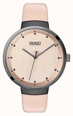 HUGO #go | cinturino in pelle rosa | quadrante in oro rosa 1540001