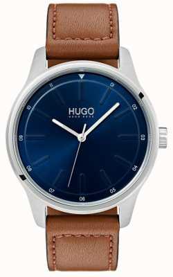 HUGO #dare | cinturino in pelle marrone | quadrante blu 1530029