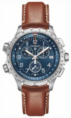 Hamilton | khaki aviation x-wind gmt | quadrante blu | pelle marrone | H77922541