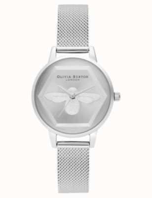Olivia Burton | Orologio di beneficenza ape 3d | bracciale a maglie d'argento l OB16AM168
