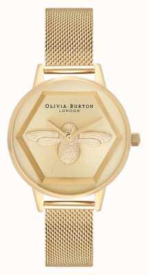 Olivia Burton | Orologio di beneficenza ape 3d | bracciale a maglie in oro giallo | OB16AM169