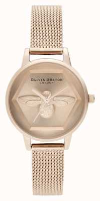 Olivia Burton | Orologio di beneficenza ape 3d | braccialetto a maglie in oro rosa | OB16AM170