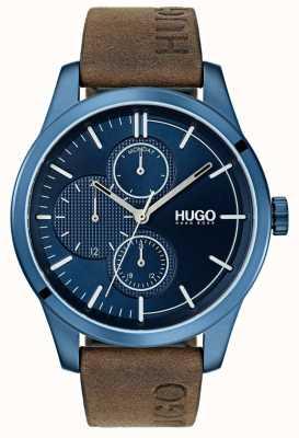 HUGO #discover | cinturino in pelle marrone | quadrante blu 1530083