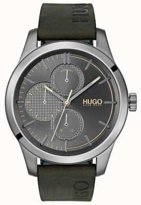 HUGO #discover | cinturino in pelle verde | quadrante grigio 1530084