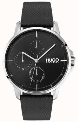 HUGO #focus | cinturino in pelle nera | quadrante nero 1530022