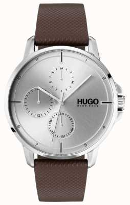 HUGO #focus | cinturino in pelle marrone | quadrante argentato 1530023