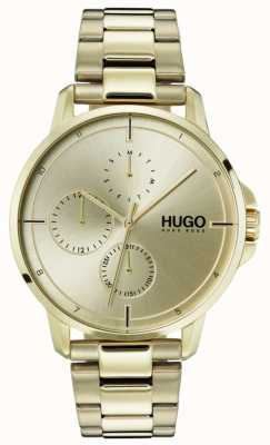 HUGO #focus | braccialetto ip oro | quadrante dorato 1530026