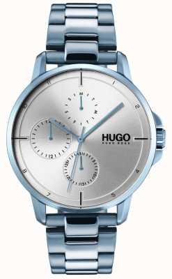 HUGO #focus | braccialetto ip blu | quadrante argentato 1530051