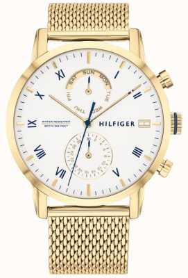 Tommy Hilfiger Kane | bracciale in maglia ip oro | quadrante bianco | 1710403