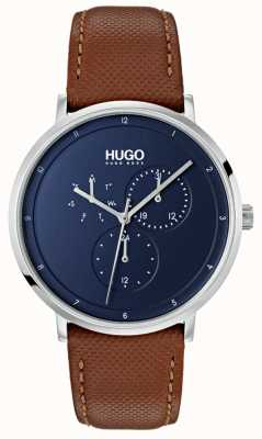 HUGO #guide | cinturino in pelle marrone | quadrante blu 1530032