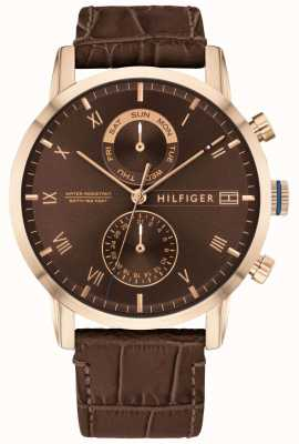 Tommy Hilfiger Kane | cinturino in pelle marrone | quadrante marrone 1710400