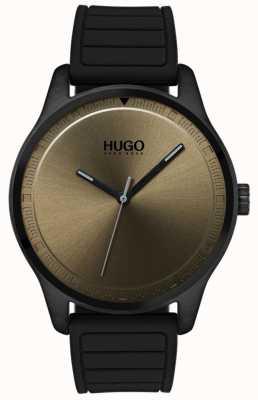 HUGO #move | cinturino in caucciù nero | quadrante cachi 1530041
