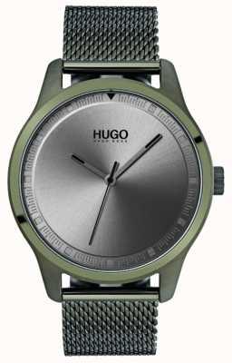 HUGO #move | braccialetto a maglie verde ip | quadrante grigio 1530046