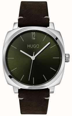 HUGO #own | cinturino in pelle nera | quadrante verde 1530068