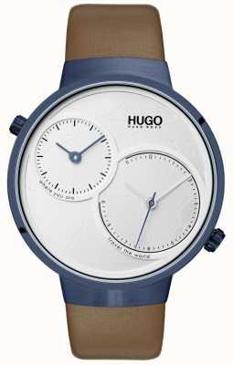 HUGO #travel | cinturino in pelle marrone | quadrante bianco 1530054
