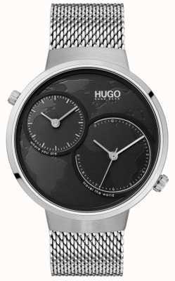 HUGO #travel | maglia di acciaio inossidabile | quadrante nero 1530055
