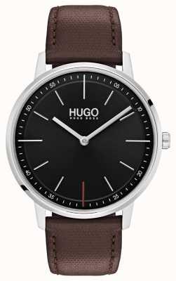 HUGO #esistere cinturino in pelle marrone | quadrante nero 1520014