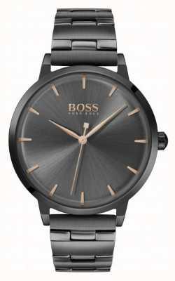 Boss | marina femminile | braccialetto placcato in pvd nero | quadrante nero | 1502503